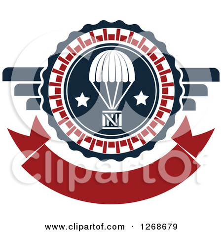 Clipart of a Red White and Blue Airdrop Crate and Parachute Air.