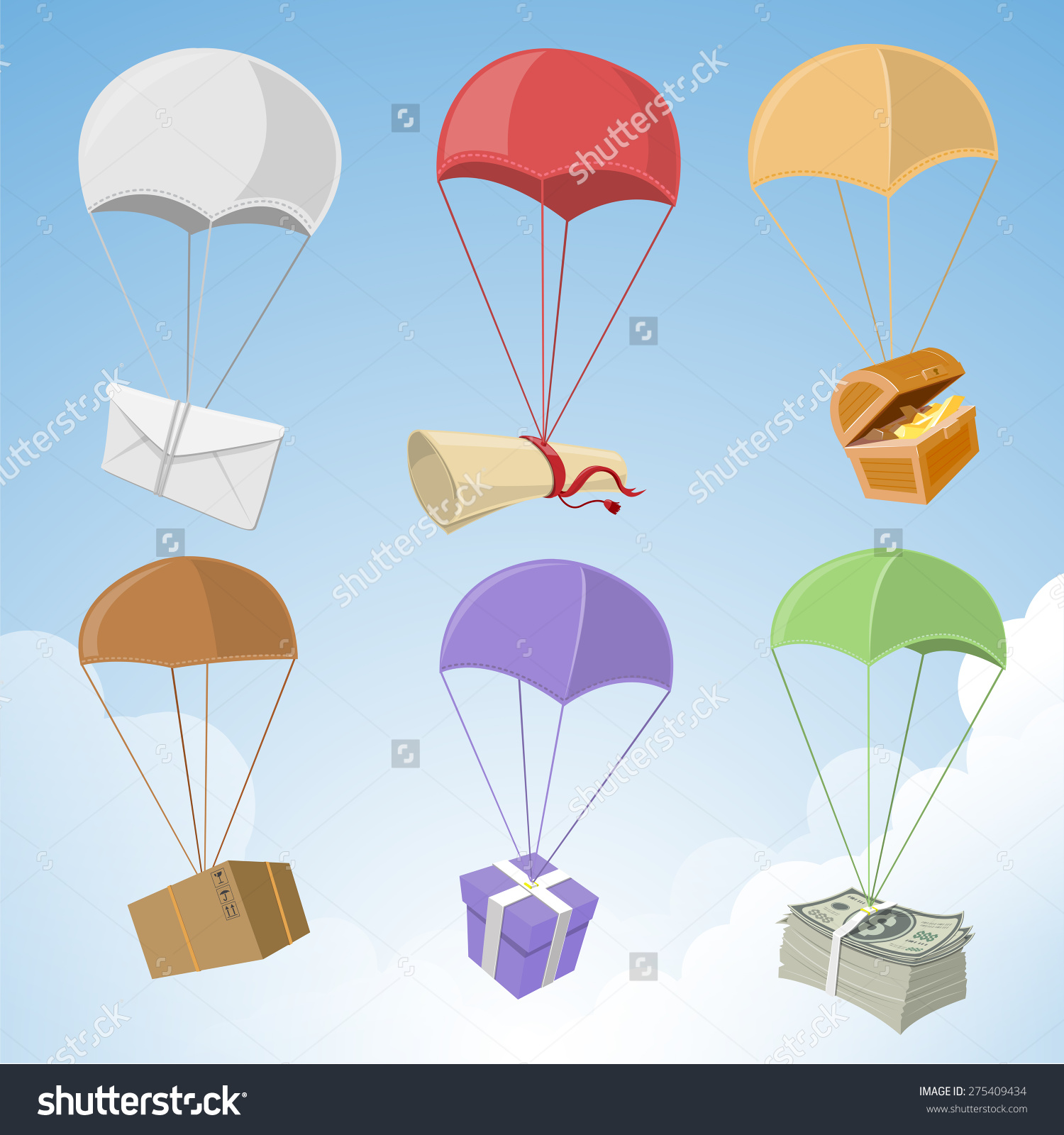 Airdrop Supplies Equipment Vector Illustration Stock Vector.