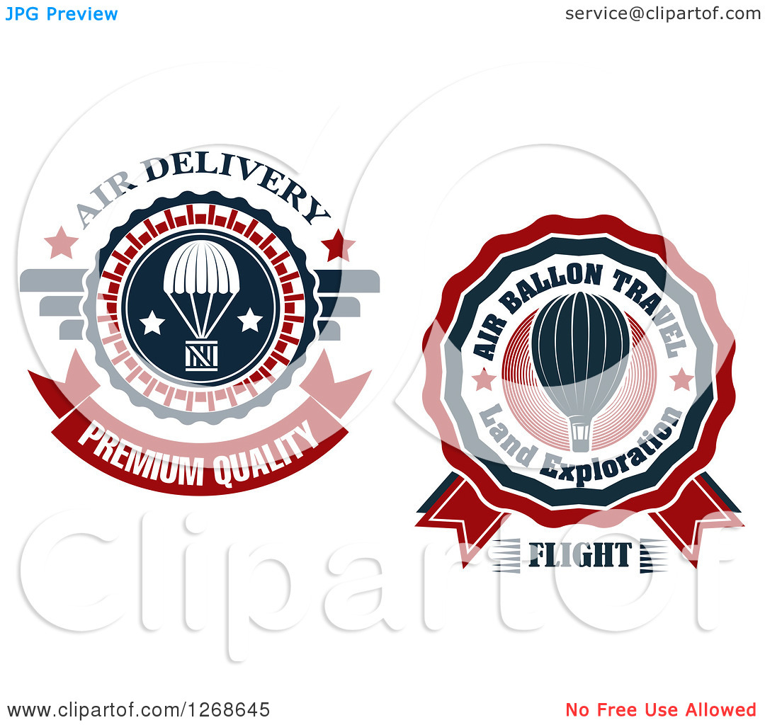 Clipart of Air Drop and Hot Air Balloon Designs.