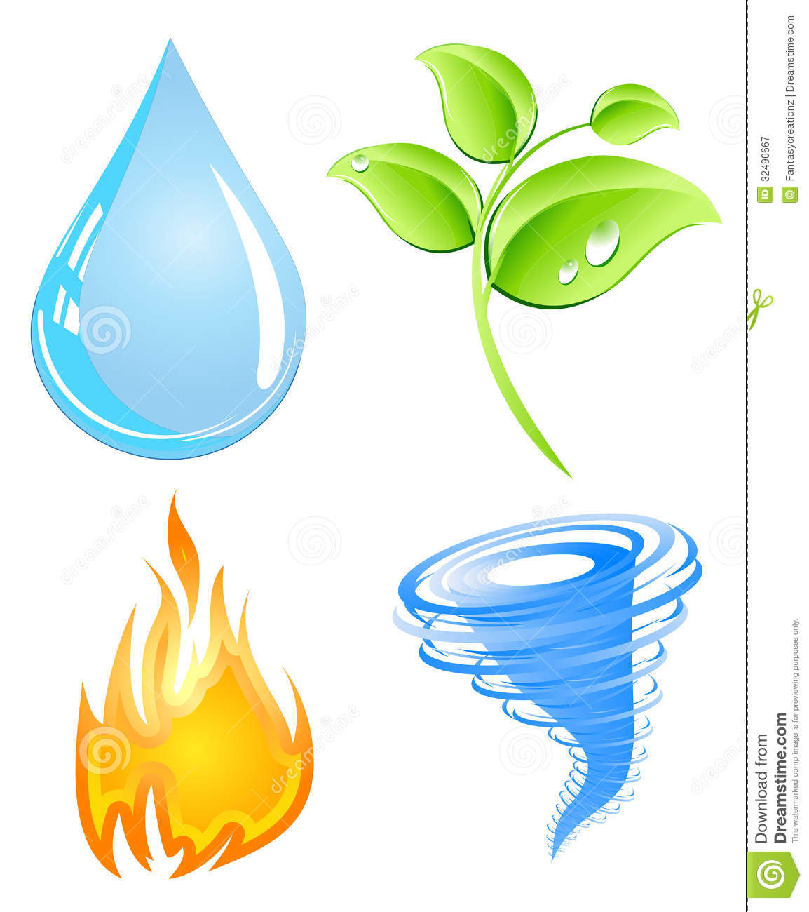 Earth wind fire water clip art.