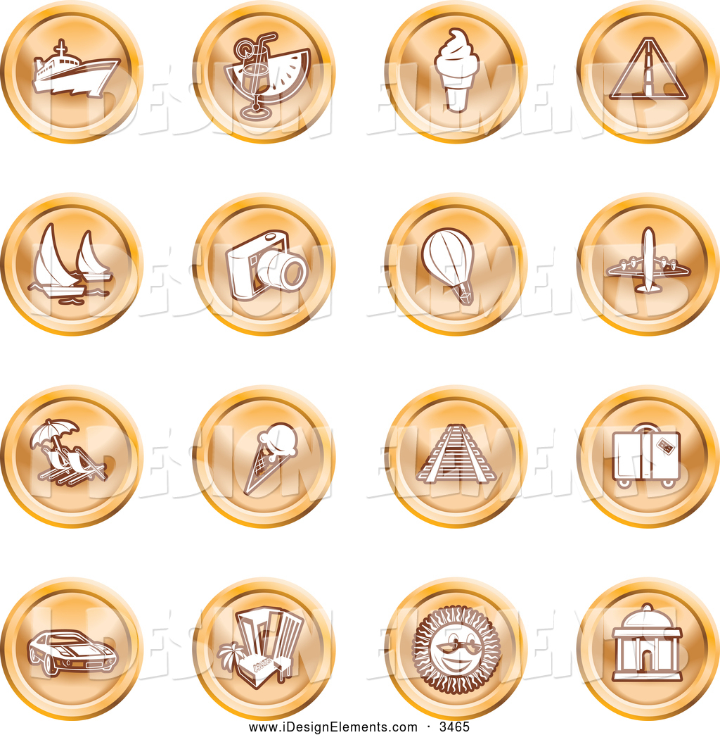 Clip Art of a Collection of Orange Coin Shaped Icons of Travel.