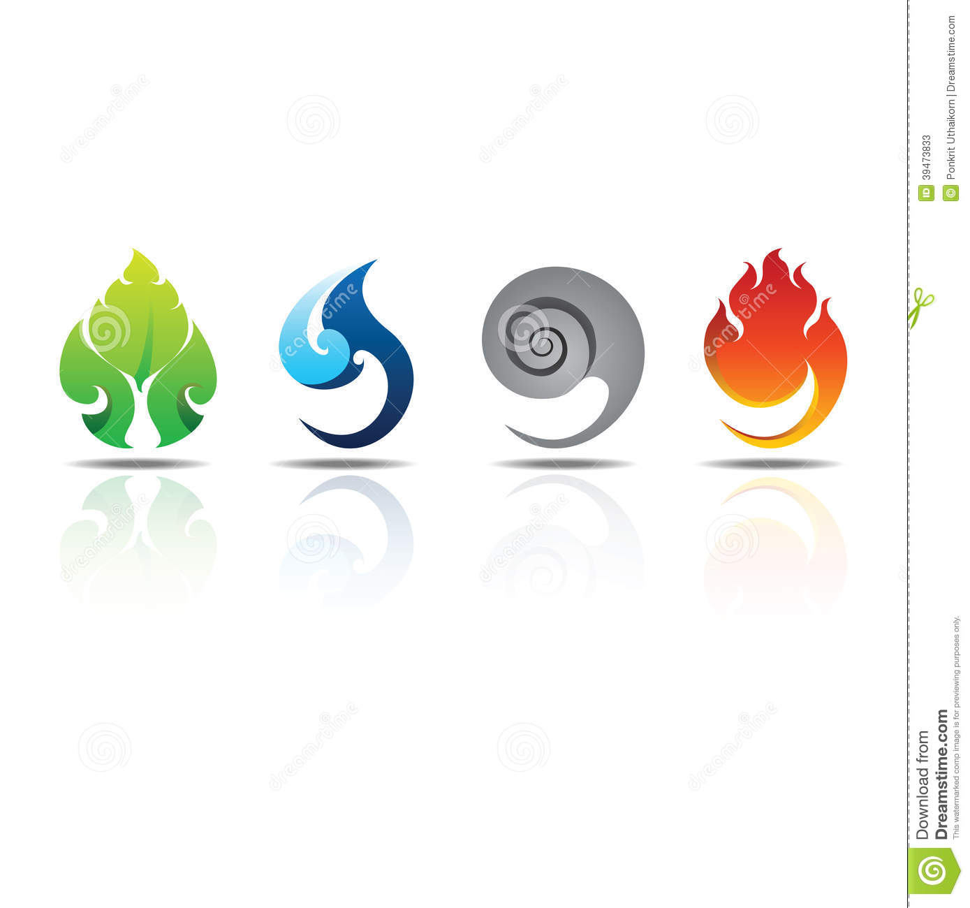 Icons Elements Earth Water Air Fire Stock Vector.