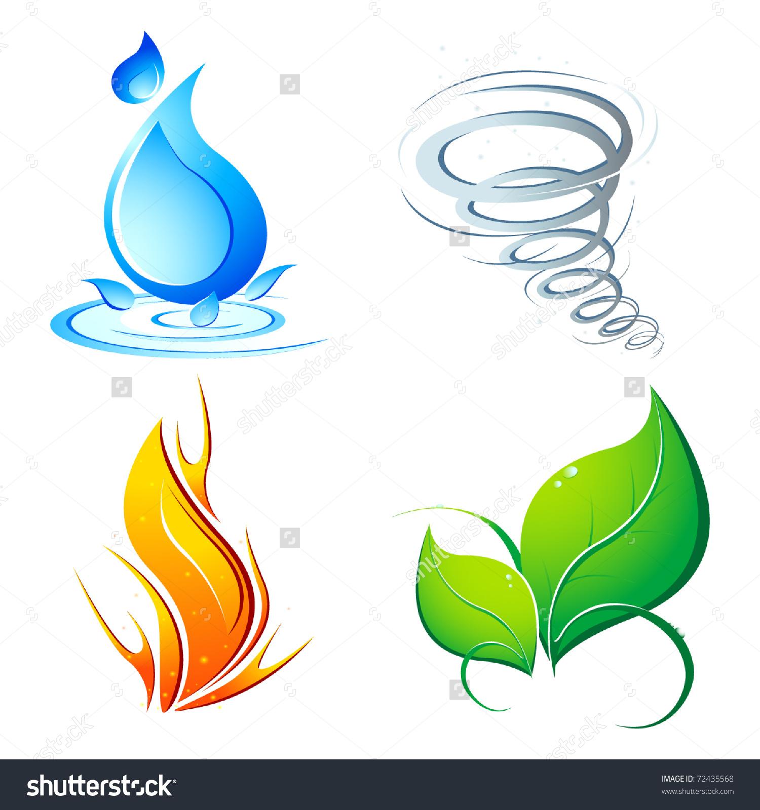 Earth fire air water clipart.