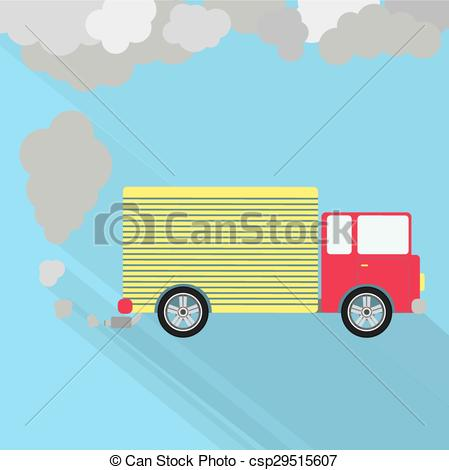 Vector Clipart of Truck fuming.