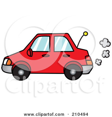 Clipart car with exhaust.
