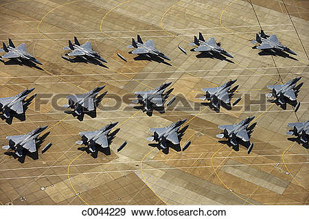 Stock Photograph of Aerial View of Fighter Jets at Langley Air.