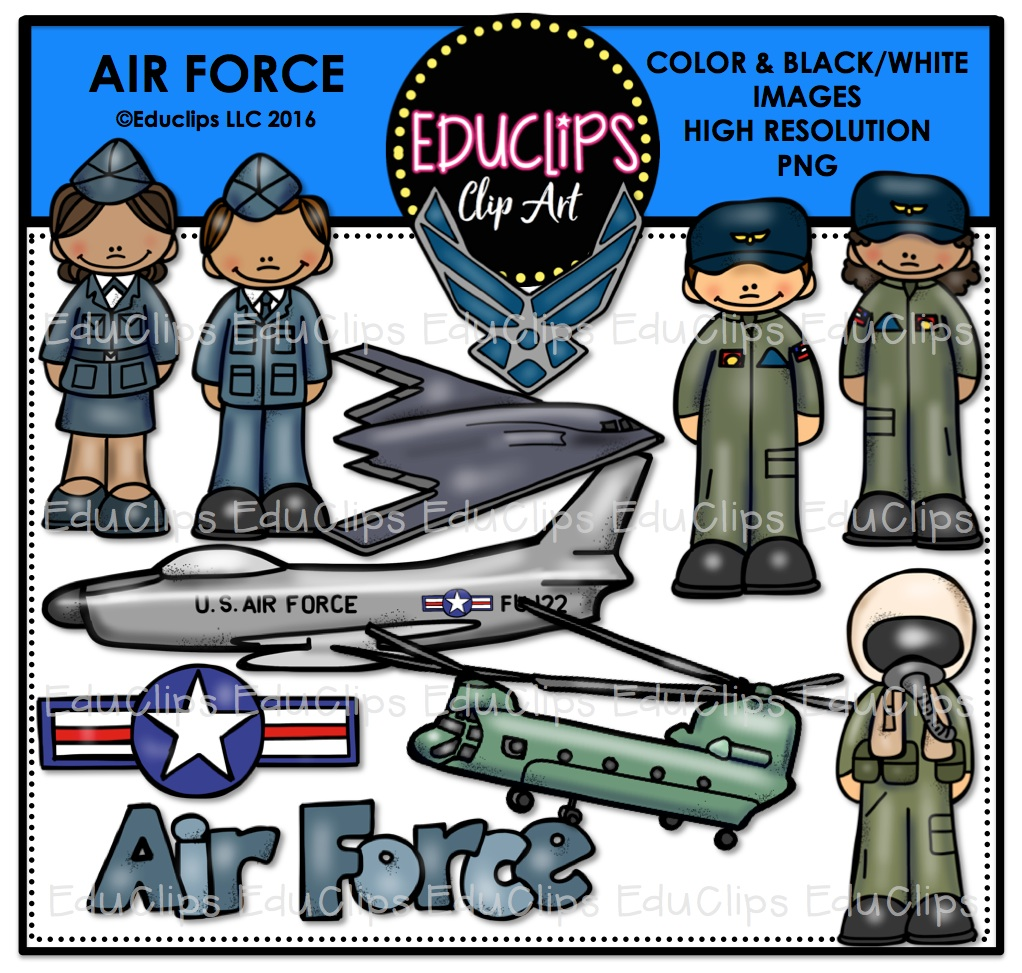 Air Force Clip Art Bundle (Color and B&W).