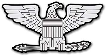 RANK Colonel EAGLE Shaped Sticker (silver insignia decal).