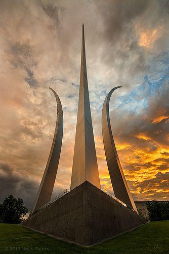 Dramatic Sunset at Air Force Memorial.