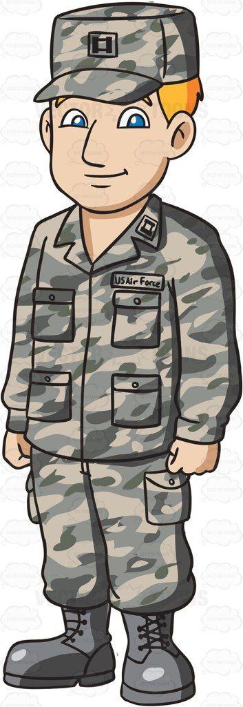 A Man Dressed In US Air Force Airman Battle Uniform #cartoon.