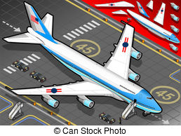 Vector Clipart of Isometric Air Force One in Rear View.