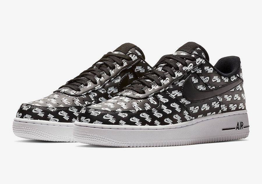 Nike Air Force 1 Low All Over Logo Black.