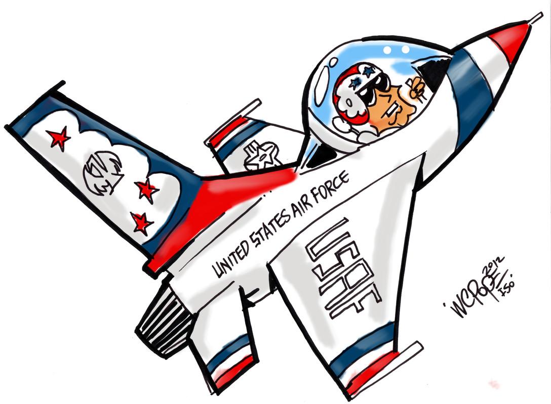 Caricature of a Thunderbird.