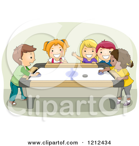 Free kids playing air hockey clipart.