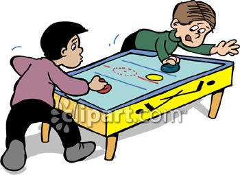 Two Friends Playing Air Hockey.