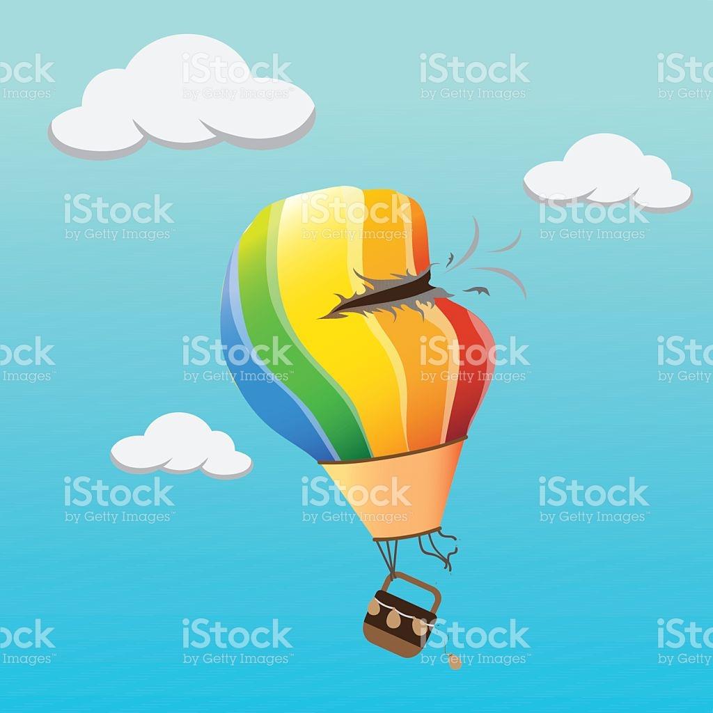 Colourful Hot Air Balloon Crash Hole In The Sky stock vector art.