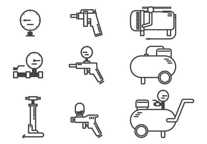 Air Compressor Accessories Icon Vectors.