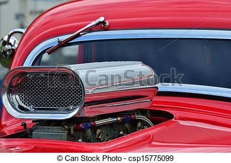 Stock Photographs of custom car air intake.