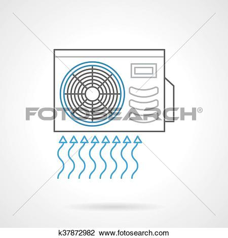 Clipart of Outdoor air conditioner flat line vector icon k37872982.