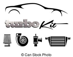 Vectors of Cone filter induction kit icon. Performance car air.