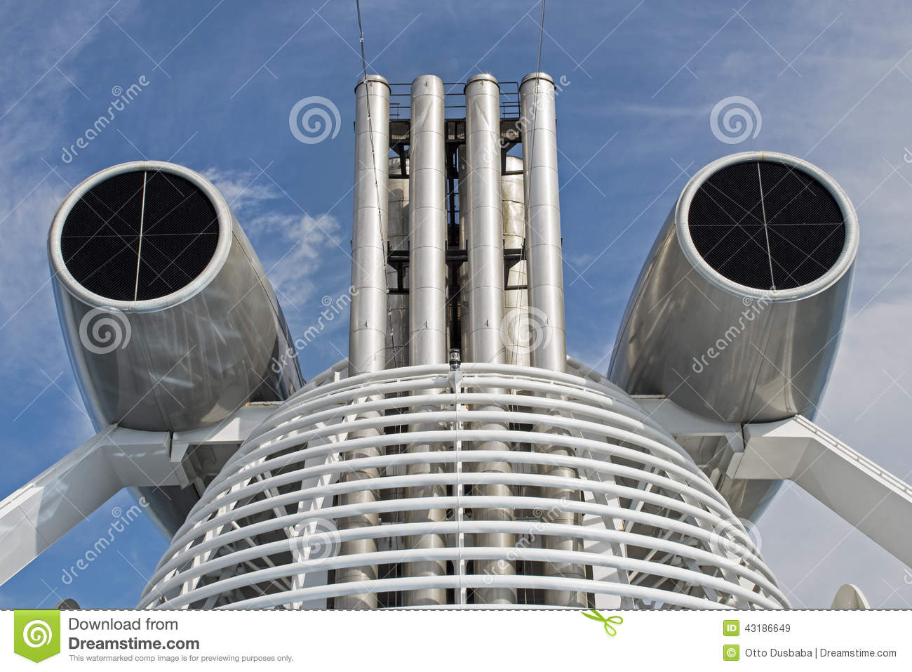 Air Intake Structure On A Cruise Ship Stock Photo.
