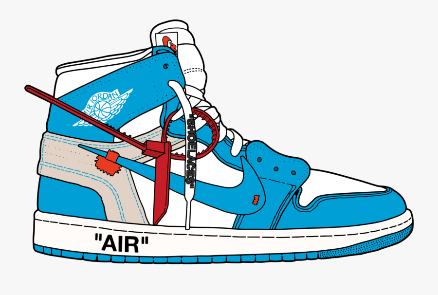 "Air Jordan 1 Retro Hi Og X Off White ""unc""."