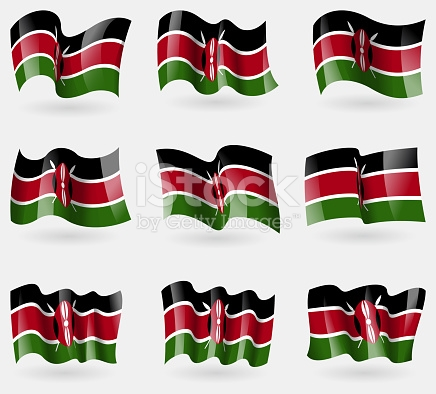 Set Of Kenya Flags In The Air stock photo 475002364.
