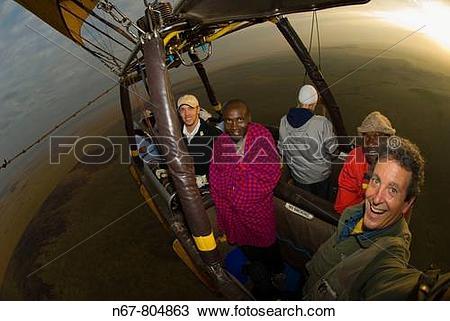 Stock Photo of Hot air balloon flight Transworld Safaris over.