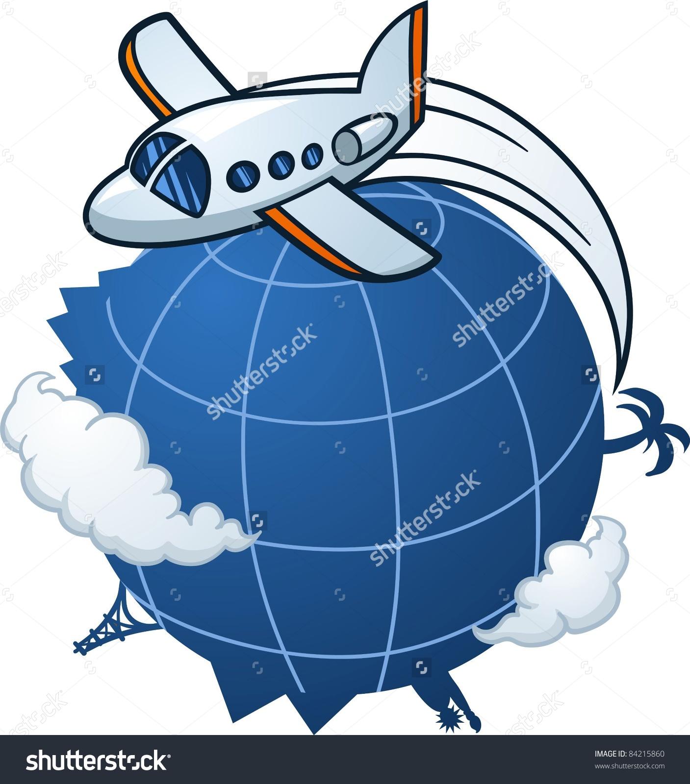 Cartoon Airplane Traveling Around World Vector Stock Vector.