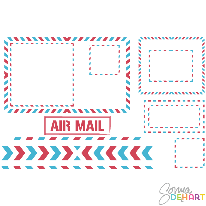 Clip Art Airmail Postage Elements and Frames.