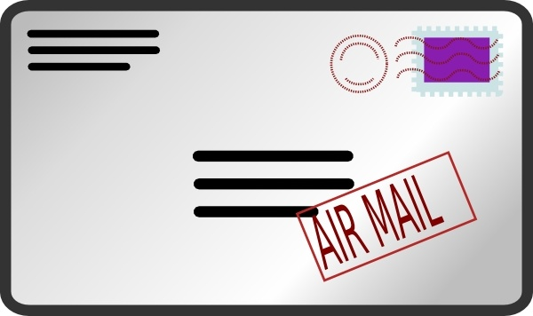 Air Mail Envelope clip art Free vector in Open office drawing svg.