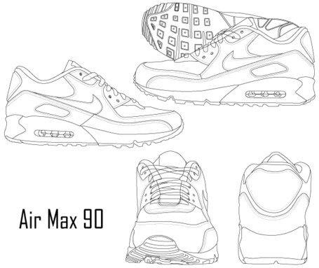 Nike Air Max 90 Sneaker Boot Clipart Picture Free Download.