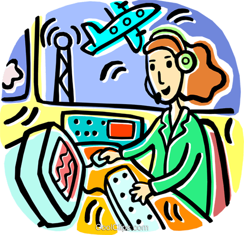 Air traffic controller monitoring airplan Royalty Free Vector Clip.