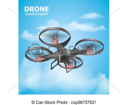 Vectors of Realistic remote air drone quadrocopter flying in the.