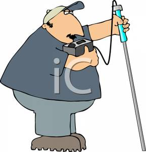 Cartoon of an Inspector Taking a Test with a Monitor.