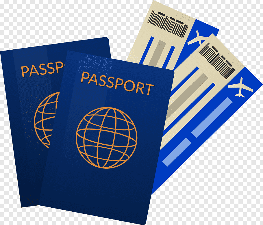 Two blue Passport illustrations, Airline ticket Travel.