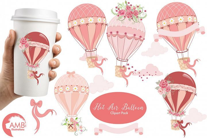 Hot Air Balloons, graphic, illustration, clipart AMB.