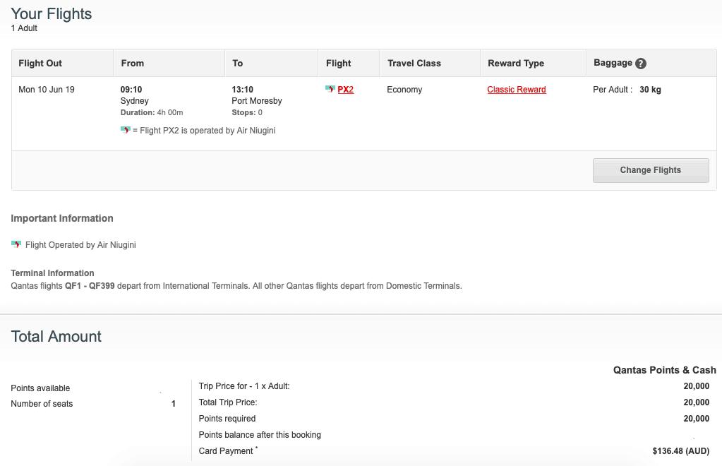 Booking Air Niugini Flights with Qantas Points.