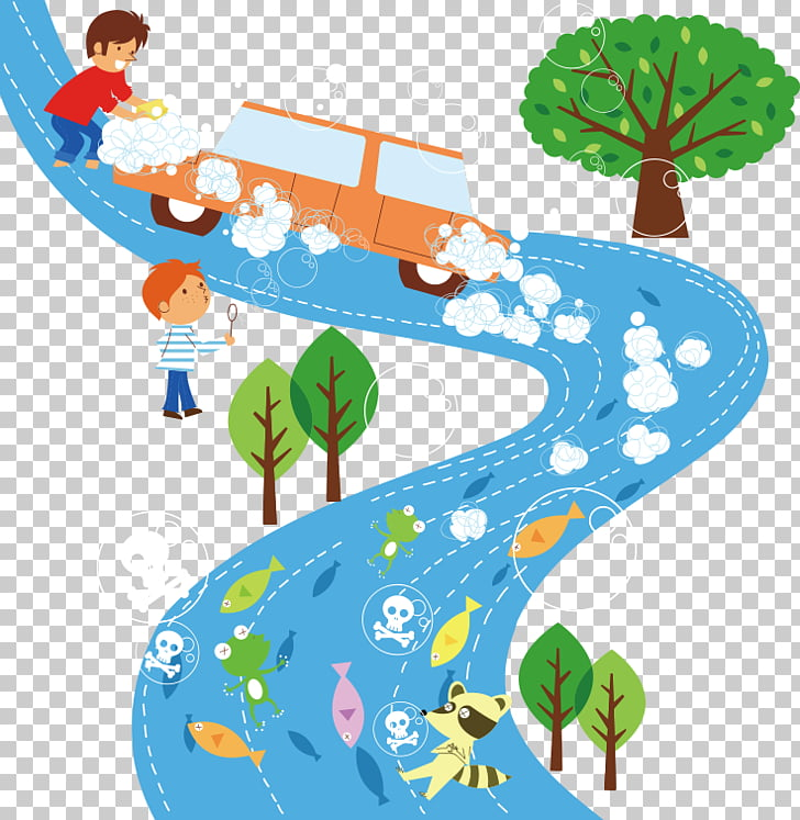 Air pollution Natural environment , Cartoon car wash field.