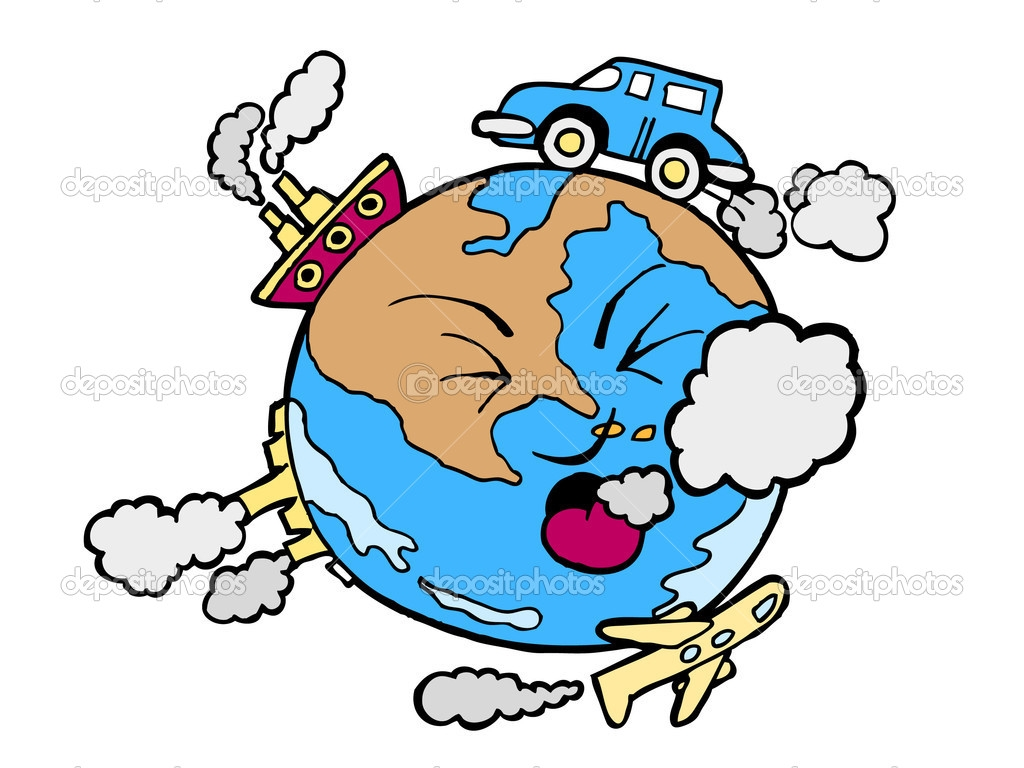 Air pollution cartoon clipart.