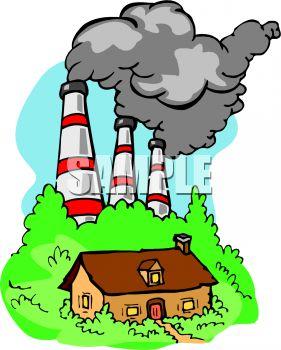 Factory Air Pollution Clipart.