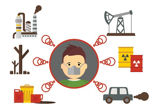 causes of air pollution Clipart Image.