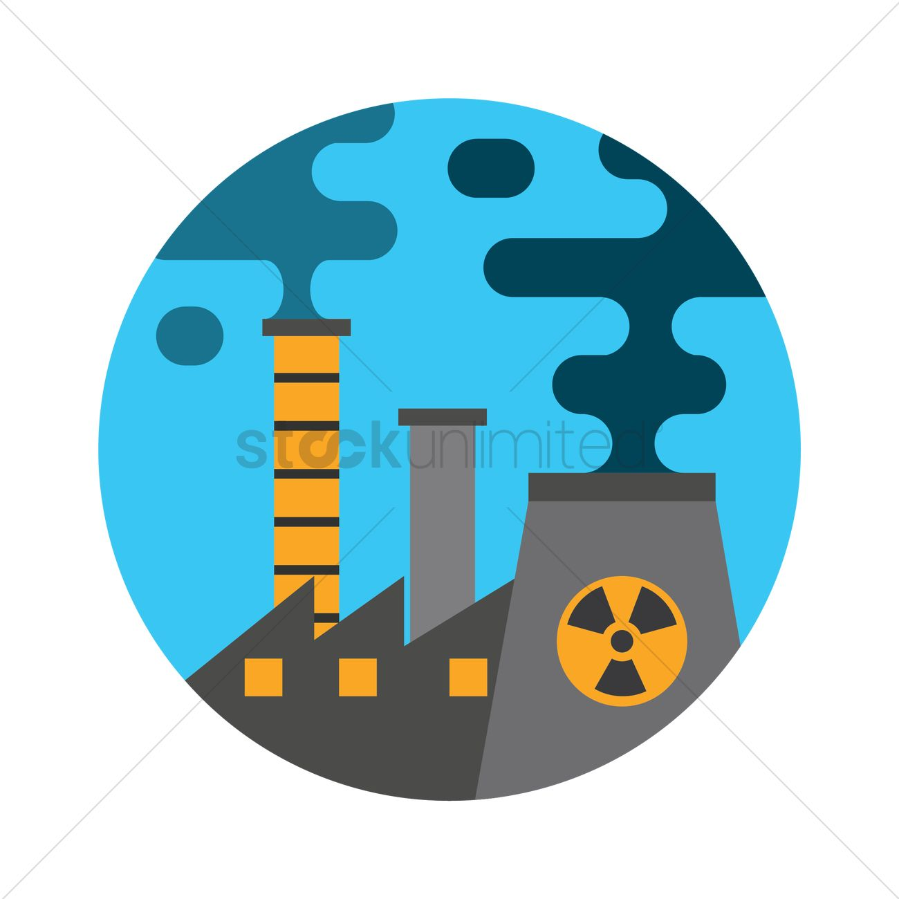 Air pollution caused by factories Vector Image.