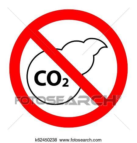 CO2 air pollution stop forbidden prohibition sign Clip Art.