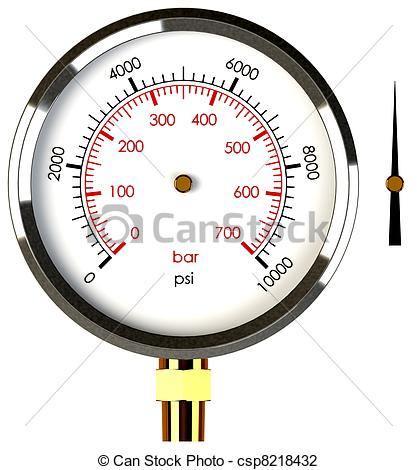 Clip Art of Pressure Gauge with Needle.