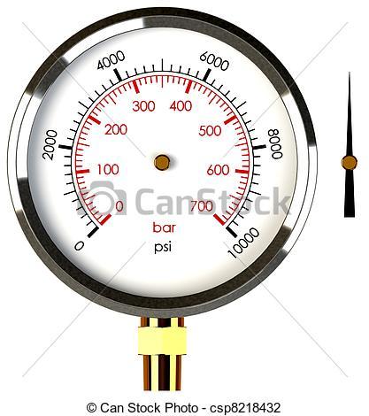 Clip Art of Pressure Gauge with Needle.