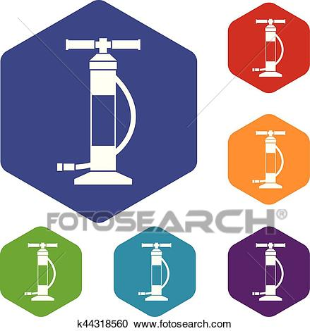 Hand air pump icons set Clipart.