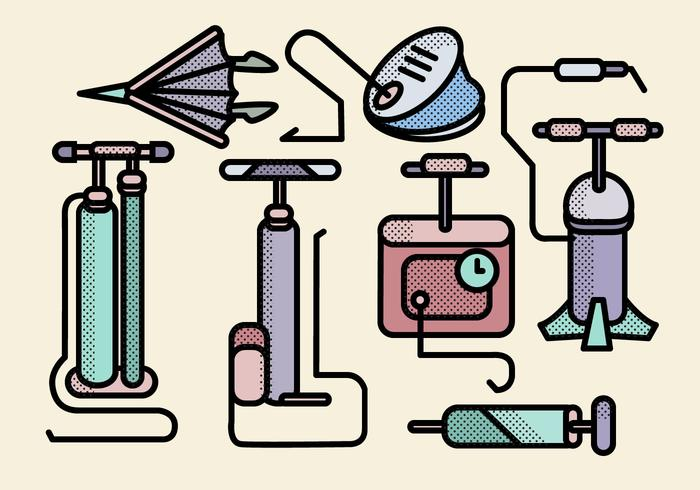 Various Air Pump Tools Vectors.