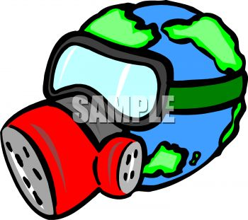 Planet Earth Wearing a Gas Mask To Protect Against Pollution.