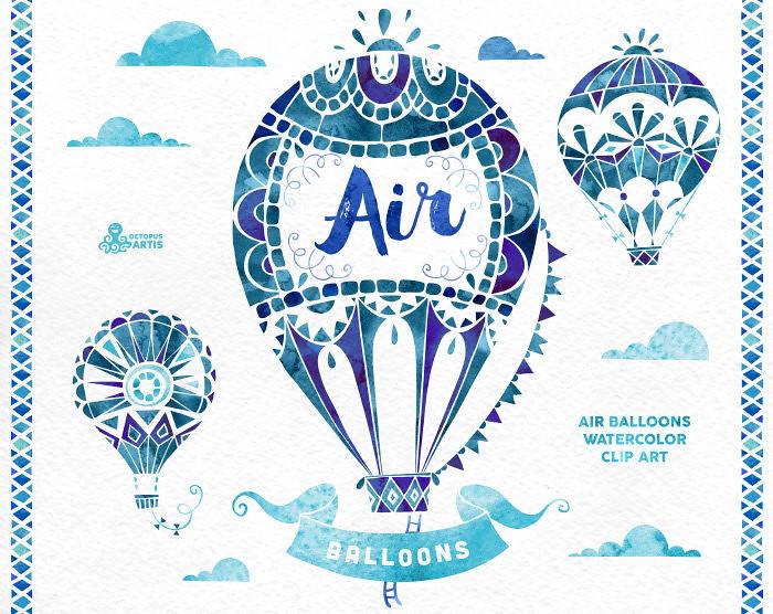 Air Balloons Blue. Watercolor handpainted clipart, hot air.
